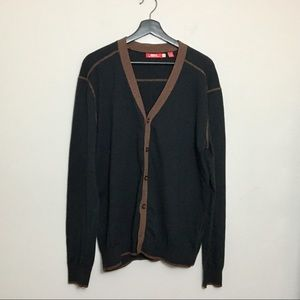 Agave button up cardigan. Gray & Brown